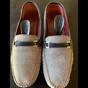 Ferragamo two tone linen loafers
